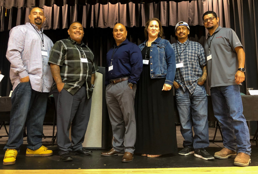 Second Chance Success Panelists Brian Evans, Pablo Gaxiola, Michael Salinas, Amy Bravo, Rolando Barrientos and Jose Rodriguez discussed second chance employment opportunities at a July 16 workshop hosted by the San Benito County Workforce Development Board. Photo by Melissa Melton.