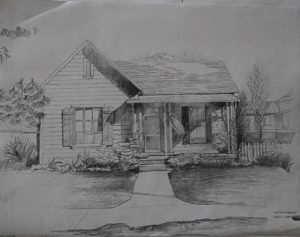 Craftsman Bungalow once owned by author John Steinbeck's grandparents. Located at 829 Monterey St. Drawing by David Huboi.