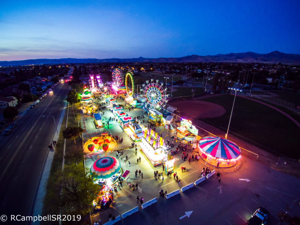 Drone photographer Ryan Campbell captured the annual San Benito High School Carnival from a bird's eye view at night. Photo by Ryan Campbell.