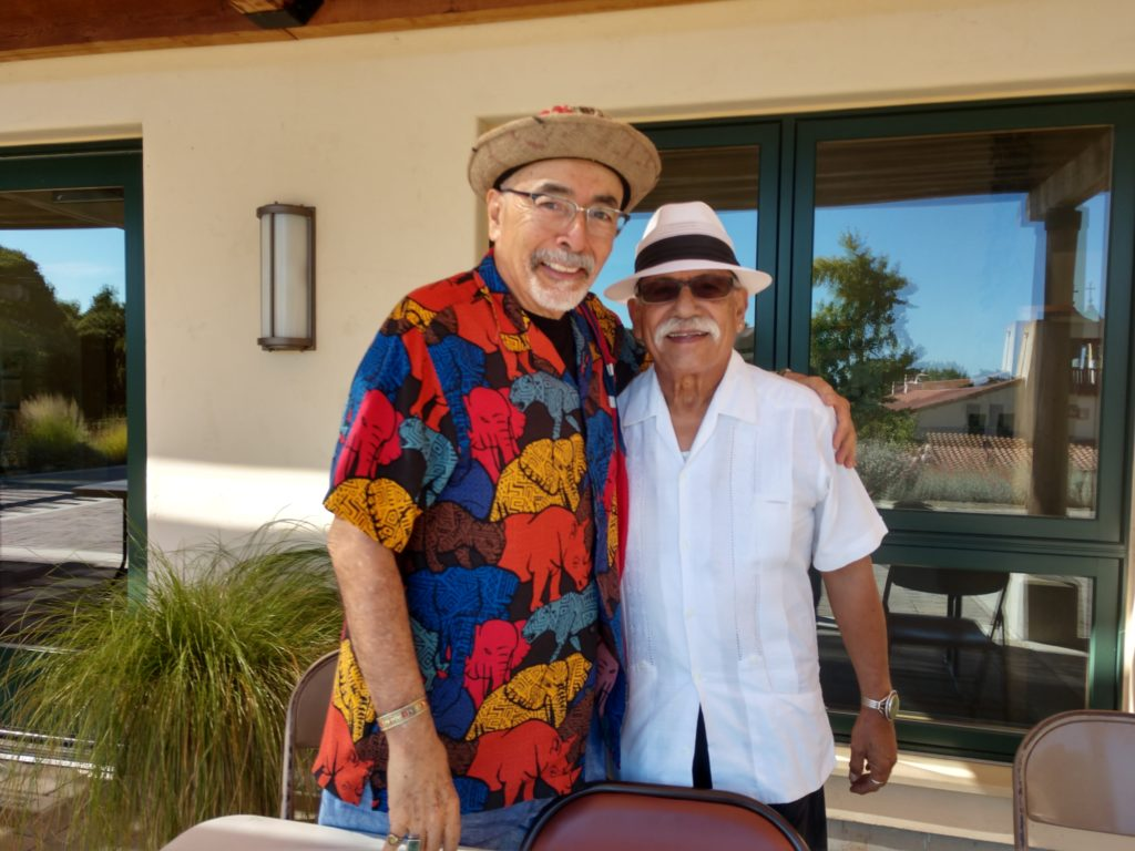 Former U.S. Poet Laureate Juan Felipe Herrera and San Juan Bautista Mayor Cesar Flores. Photo by Carmel de Bertaut.