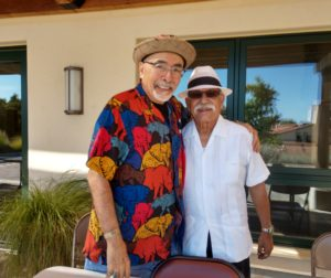 Former U.S. Poet Laureate Juan Felipe Herrera and San Juan Bautista Mayor Cesar Flores. Photo by Carmel de Bertaut.
