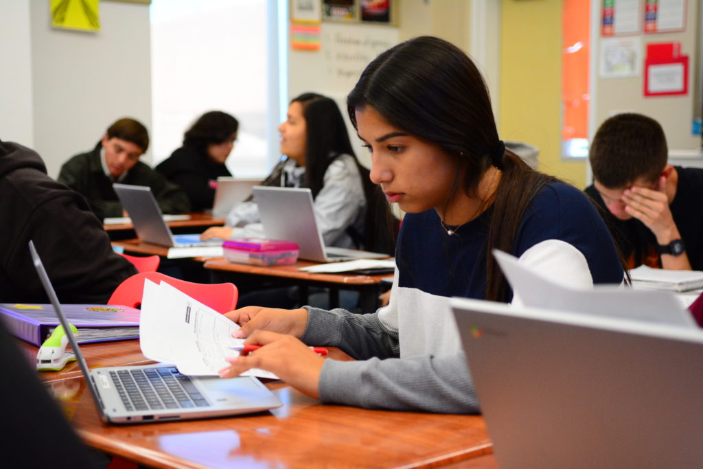 Students at San Benito High School use Google Chromebooks in most of their classes to answer class surveys and submit assignments. The Chromebooks were made possible by a $120,000 grant from the Monterey Peninsula Foundation, which disburses charitable funds in Monterey, Santa Cruz and San Benito counties. Photo credit: Ed Wong.