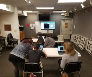 Teens learning how to code at the library. Photo provided.