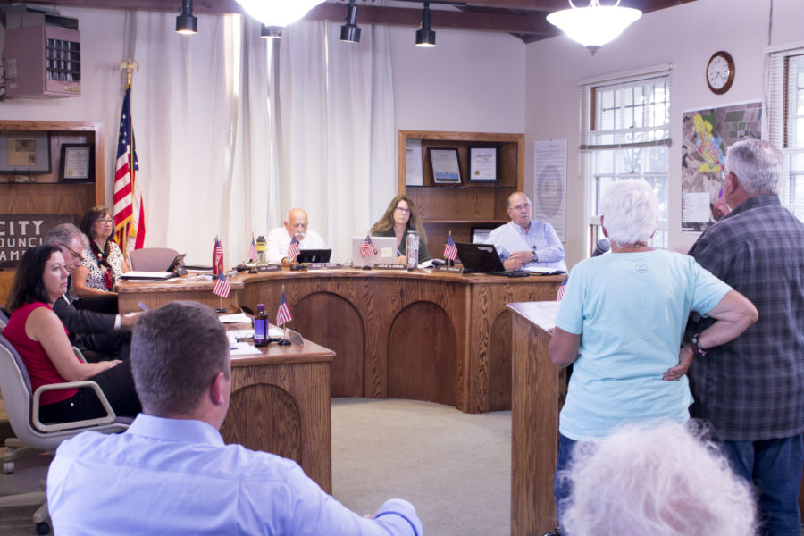 San Juan Bautista council members listen to a presentation on splitting the Historic Resources Board and Planning Commission. Photo by Noe Magaña.