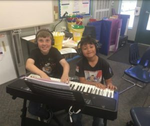 Keyboards were purchased so students can have music lessons. Photo provided by Jefferson Elementary School.