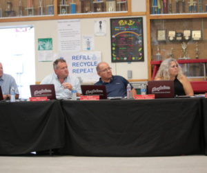 The San Benito High School Board of Trustees at an Aug. 27 meeting, where they heard from parents and a special education teacher about alleged inappropriate behavior in a classroom. Photos by John Chadwell.