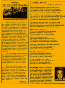 Marilyn Ferreira's presidential farewell message for Hollister Rotary and a poem written for her by Fred Sharp, a close friend and fellow Rotary member.