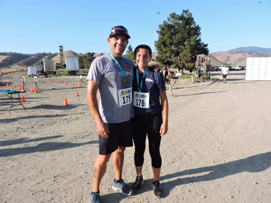 Justin Heckman and daughter McKenzie after finishing the 2019 River Run 5k on Aug. 24 at the Graniterock quarry in Tres Pinos. Photos by Patty Lopez Day.