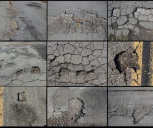 Collage of Quien Sabe Road holes in Tres Pinos area. Photos by Robert Eliason