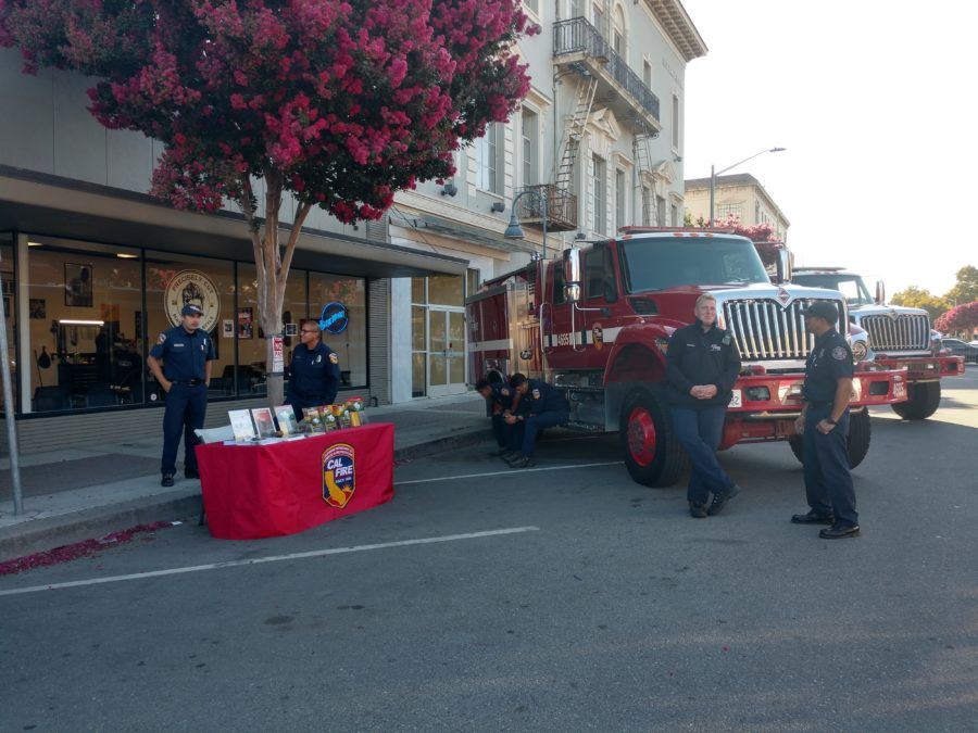 Cal Fire showed up to lend their support and engage the community in fire safety discussions. Photo by Carmel de Bertaut.