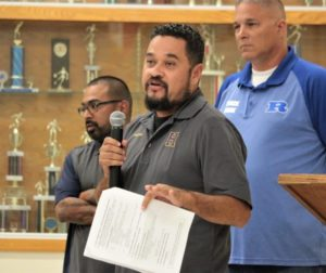 Albert Rodriguez with the Hollister Vikings Youth Football League said kids need a home field to play on. Photos by John Chadwell.