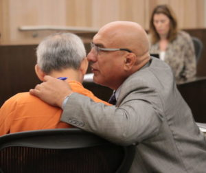 Defense attorney Arthur Cantu and defendant Sang Ji in San Benito County Superior Court. Photo by John Chadwell.