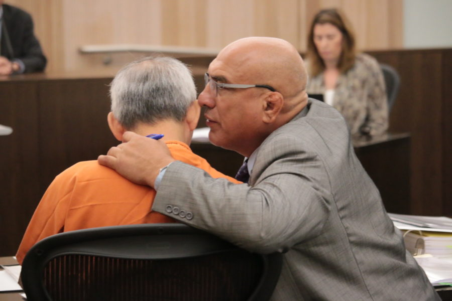 Defense attorney Arthur Cantu and defendant Sang Ji in San Benito County Superior Court on Sept. 11. Photos by John Chadwell.