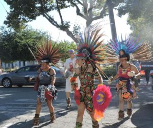 Aztec dancers lead a peace march to the LULAC Health Fair on Sept. 14. Photos by Patty Lopez Day.