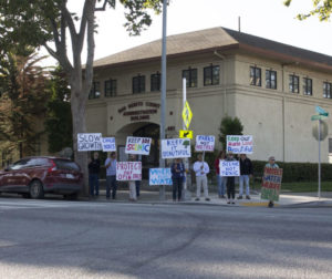 Preserve Our Rural Communities (PORC) members rally outside the San Benito County Administration Building on Fourth Street before a public hearing on the Highway 101 commercial nodes on Sept. 10. Photos by Noe Magaña.