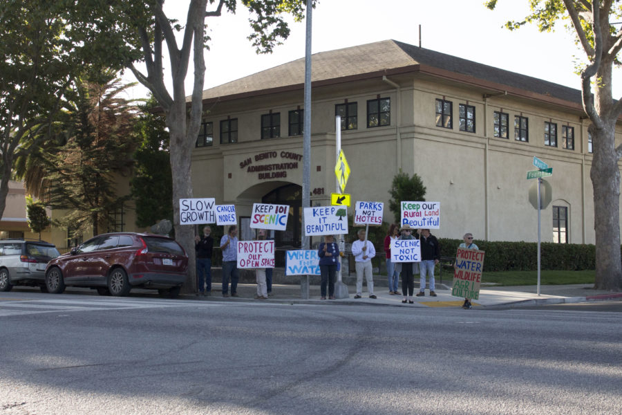 Preserve Our Rural Communities (PORC) members rally outside the San Benito County Administration Building on Fourth Street before a public hearing on the Highway 101 commercial nodes on Sept. 10, 2019. Photo by Noe Magaña.