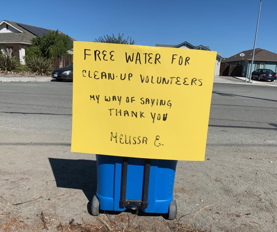 A neighbor left out an ice chest for the volunteers. Photo courtesy of Celina Stotler.