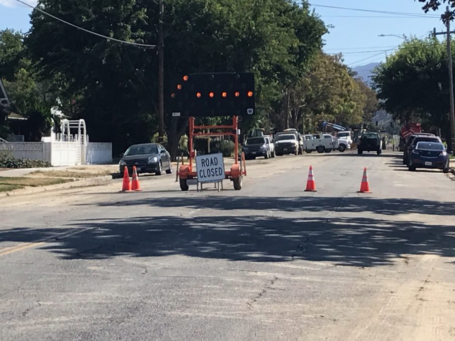 Road sign redirecting traffic at the site of a Sept. 19 water main break at San Benito and Olive streets.