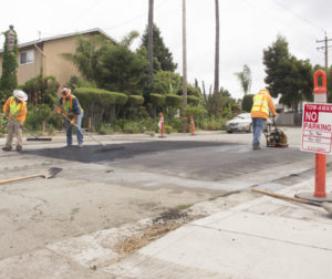 Graniterock crews installing speed tables at Fourth Street in San Juan Bautista on Sept. 16. Photos by Noe Magaña.