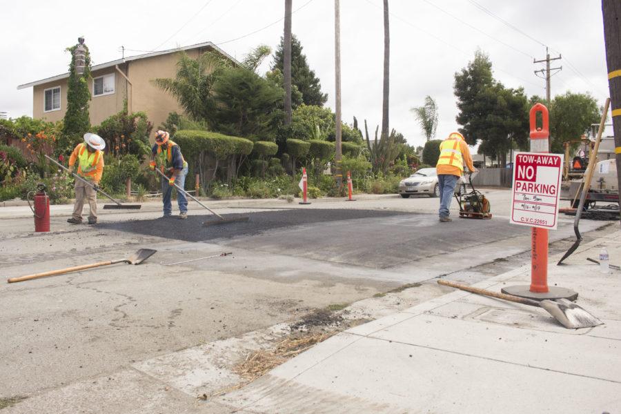 Graniterock crews installing speed tables at Fourth Street in San Juan Bautista on Sept. 16. Photos by Noe Magaña.