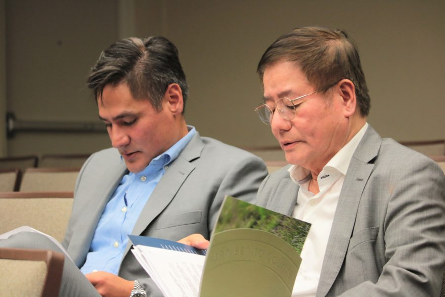 Joseph and John Wynn sat through discussion of their cannabis project at the Sept. 3 Hollister City Council meeting. They were ready to show a slide presentation for the project, but were not asked to do so. Photo by John Chadwell.