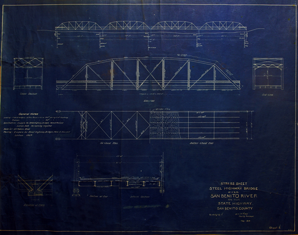Blueprints dated 1914 for Camelback Bridge designed by A. M. McCray. Photo provided by San Benito County Historical Society.