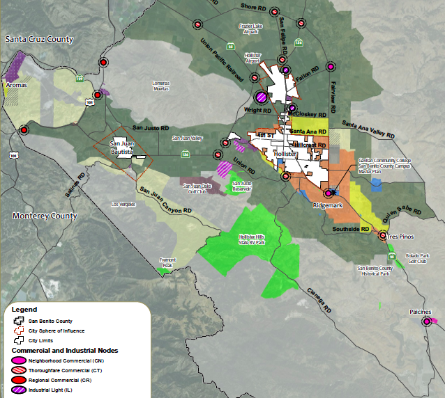 Map of potential commercial and industrial node sites in San Benito County as per the 2035 General Plan. Photo provided by San Benito County Business Council.