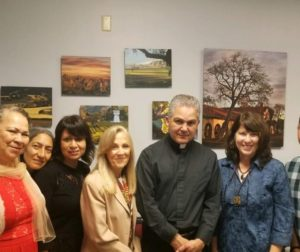 San Benito County locals Maria Cortez, Maria Fabian, Elena Olsvold, Mary Woodill, Father Alberto Cabrera, Bev Miller and Alejandro Oseguera traveled to Sacramento on Aug. 28 to discuss SB 24 with State Assemblyman Robert Rivas. Photos provided by Bev Miller.