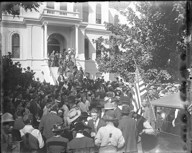 More than 2,000 people gathered on September 21, 1917 to bid farewell to the second group of San Benito County men drafted to serve in the American Expeditionary Force under General John Pershing in World War I. Photo provided by the SBC Historical Society.