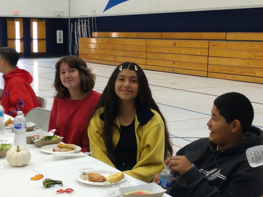 Eighth-grade students Savanna Melendez, Donna Macias, and Eduardo Palomido.