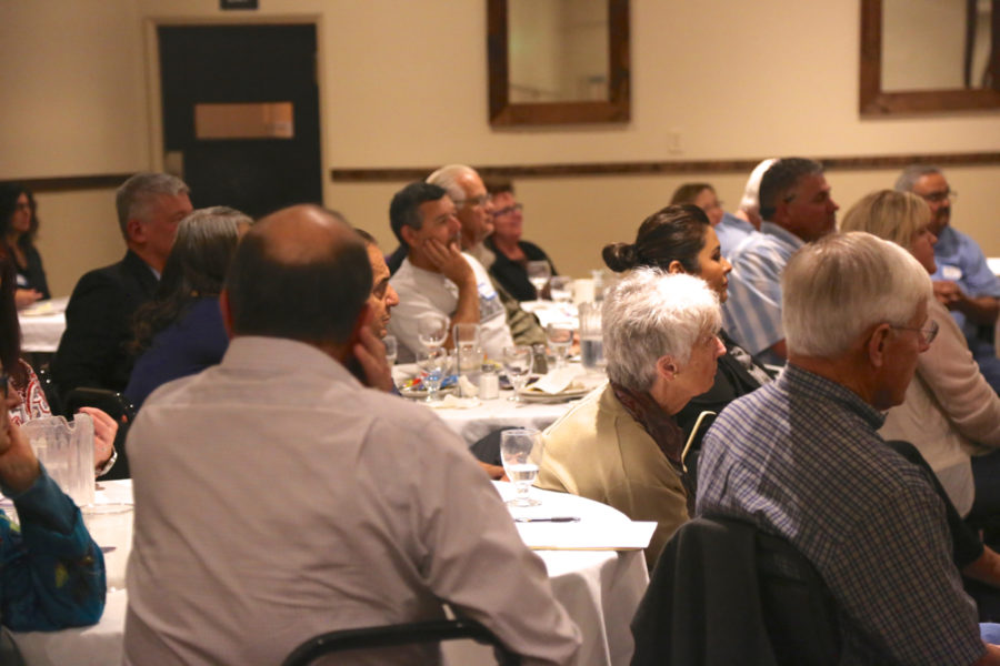 It was a full-house at the Town Hall held at Paine's Restaurant in Hollister. Photo by Leslie David.