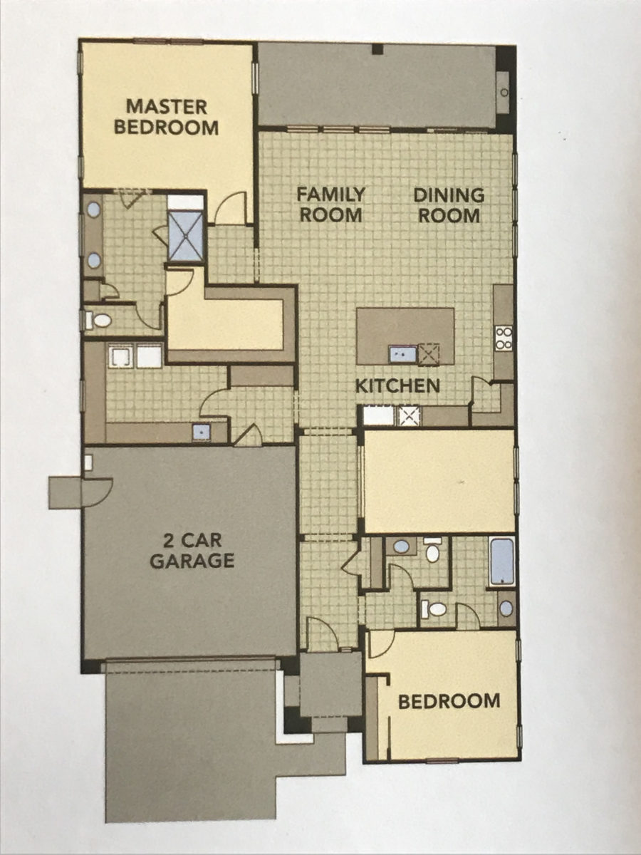 Rendering of the floor plan on the 2011 square foot model. Photos from the Twin Oaks brochure.