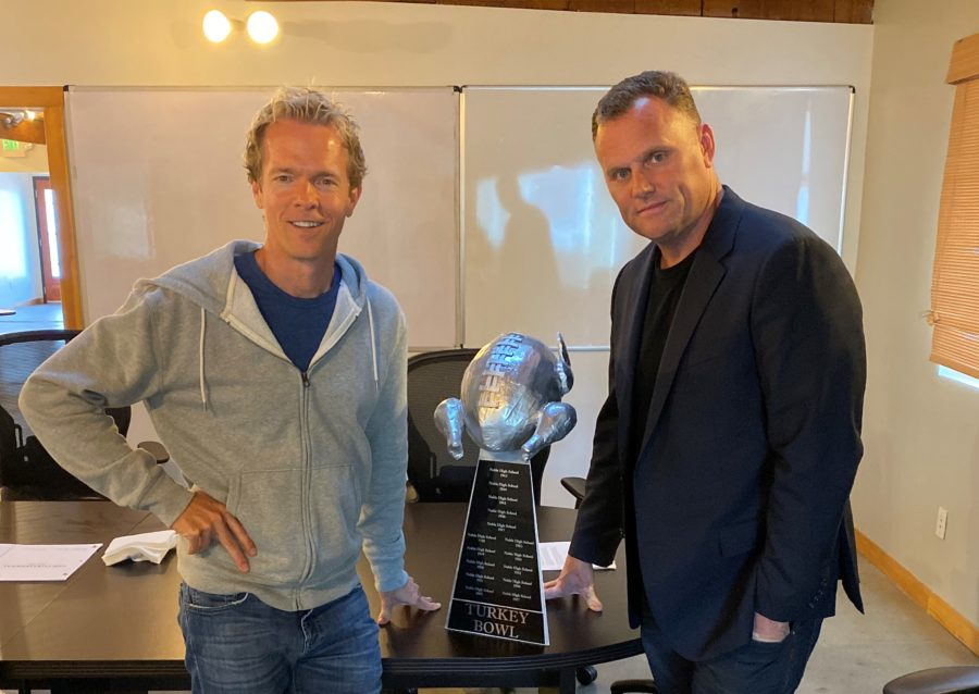 Greg Coolidge and Kirk Ward with the Turkey Bowl trophy from the movie. Photo provided.