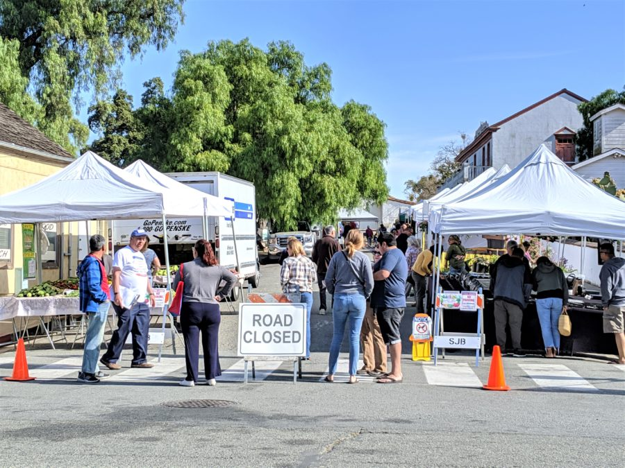 The Sunday market takes place on Mariposa Street near the Mission.
