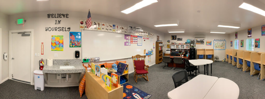 Panorama of the new classroom at Keith Thompson Non-Public School. Photo provided by Chamberlain's Youth Services.