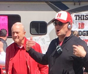 Former Dallas Cowboy football coach Barry Switzer and Kirk Ward on the set of 'The Turkey Bowl.' Photo courtesy of Kirk Ward.