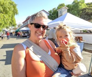 Elizabeth Cota of Hollister came to the farmers' market in San Juan Bautista with her daughter Naima. Photos by Becky Bonner.