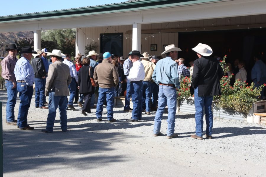 Ranchers and farmers from all over California greeted each other outside the Paicines Ranch main barn prior to the celebration of life. Photo by John Chadwell.