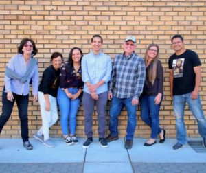 A few BenitoLink team members in downtown Hollister. Left to right: Leslie David, Carmel de Bertaut, Laura Romero, Nicholas Preciado, John Chadwell, Becky Bonner and Noe Magaña. File photo by Robert Eliason.