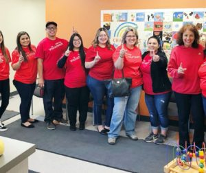 Volunteers from Wells Fargo arrive at Community FoodBank to build student snack bags. Photos provided by Community FoodBank.