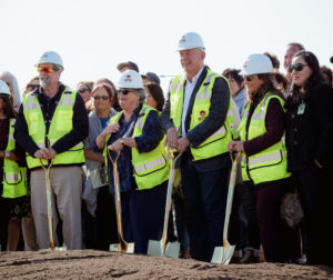 HSD Trustees at the Nov. 21 groundbreaking ceremony for the new Rancho Santana School. The school is expected to open in early 2021. Photos by Heather Graham.