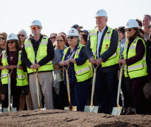 Hollister School District Trustees Carla Torres-Deluna, Stephen Kain, Jan Grist, Robert Bernosky and Elizabeth Martinez at a Nov. 21 groundbreaking ceremony for the new Rancho Santana School. File photo by Heather Graham.