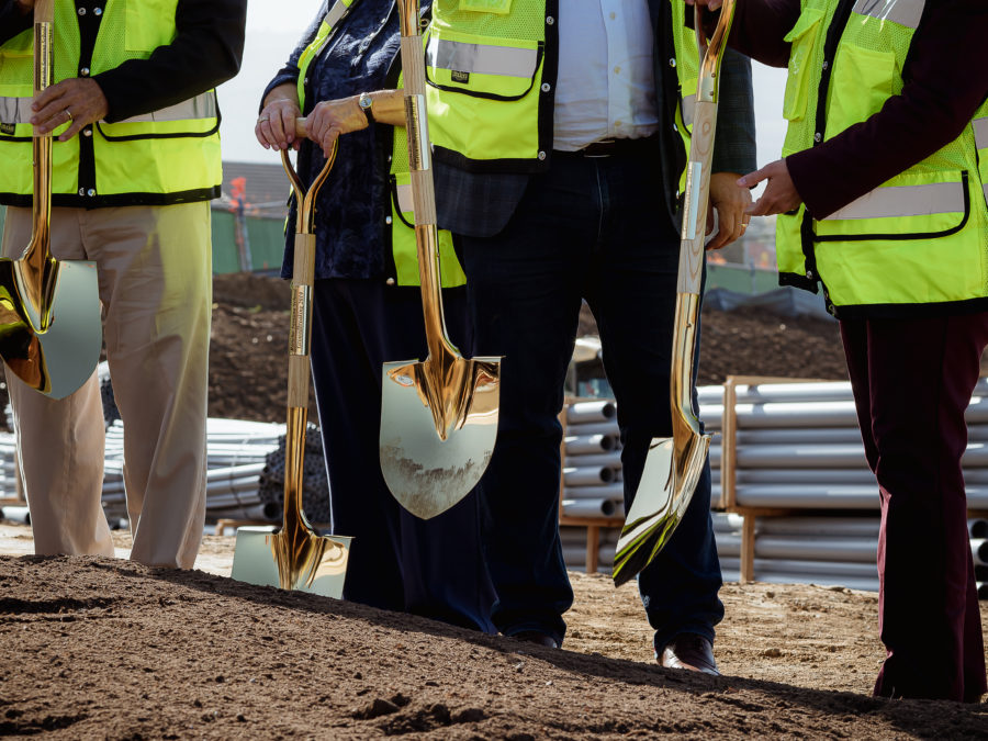 Golden shovels for the ceremony.
