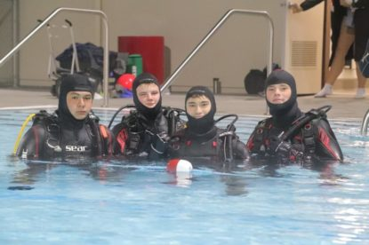 Jaydon Long, Andrew Eymann, Tom Dorch and Alexander Eymann took part in a scuba diving certification class at the San Benito High School pool. The class is put on by Pacific Ocean Water Sports. Photos by Robert Eliason.