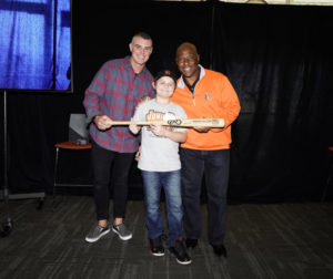 "Hollister resident Connor Halterman (center) poses with Noah Lowry and Mike ""Tiny"" Felder. Halterman was honored at the Giants Community Fund's 15th annual luncheon at Oracle Park on Nov. 16. Photo provided by @SFGiants2019."