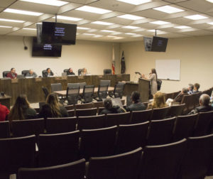Resident Elia Salinas speaks during public comment before the Hollister City Council went into a two-hour closed session meeting on Nov. 13. Photo by Noe Magaña.