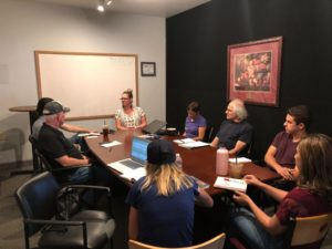 Our BenitoLink team at the weekly Reporter Meetings, where they give updates on stories that they're working on and discuss upcoming assignments.