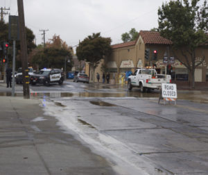 Traffic was diverted at the intersection of San Benito and South Streets in Hollister. Photo by Leslie David.