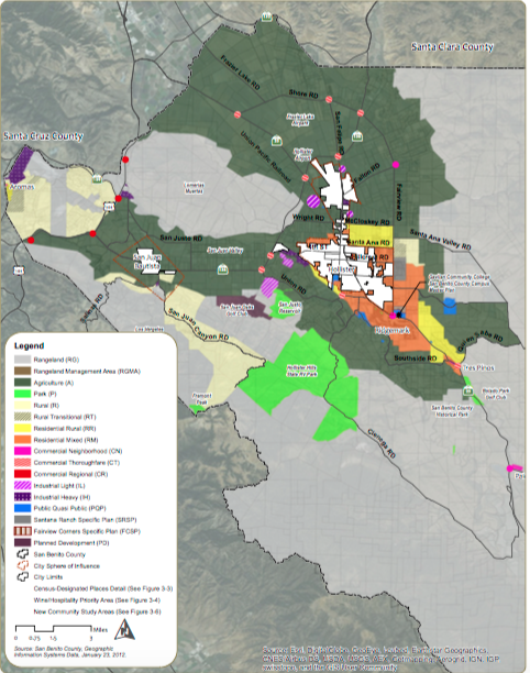Map of nodes in San Benito County. Image from General Plan Update 2035.