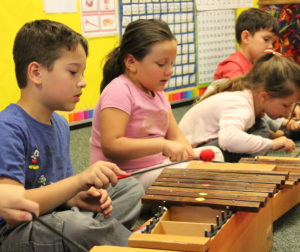 Grantee Vicki Rashkin used Arts Express! funding to purchase xylophones for a music program at Ladd Lane Elementary School. Photos provided by San Benito County Arts Council.